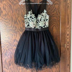 Black short chiffon formal prom dress rhinestones